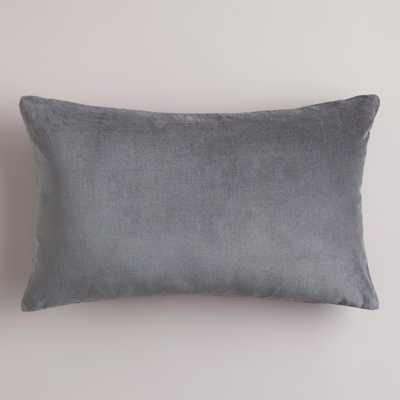 """Tornado Gray Velvet 12"""" x 20"""" Lumbar Pillow - With Insert - World Market/Cost Plus"""