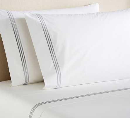 Grand Embroidered 280-Thread-Count Sheet Set - QUEEN - Gray Mist - Pottery Barn