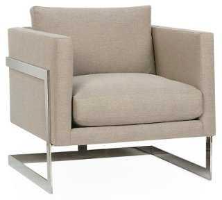 Geneva Chrome Tuxedo Chair, Mushroom - One Kings Lane