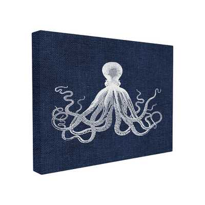 Octopus Icon on Blue Burlap Oversized Graphic Art on Wrapped Canvas Art - AllModern