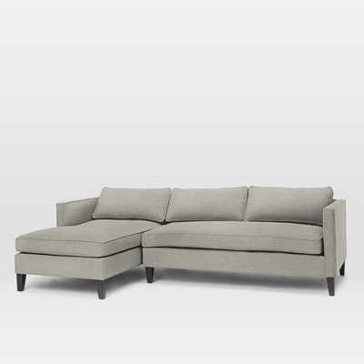 Dunham Down-Filled 2-Piece Left Chaise Sectional - Twill, Stone - West Elm