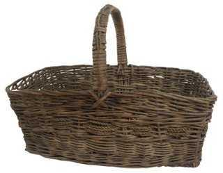 English Handwoven Rattan Basket - One Kings Lane