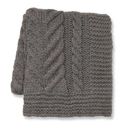 Hand Knit Chunky Braided Throw, Gray - Williams Sonoma Home