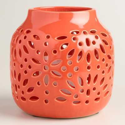 Cutout Glazed Ceramic Lantern - World Market/Cost Plus