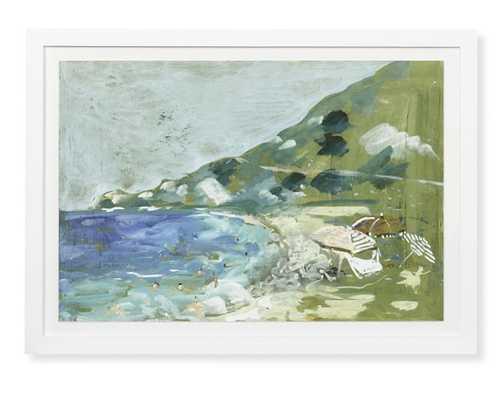 Italian Beach Day Watercolor, Cove - Williams Sonoma