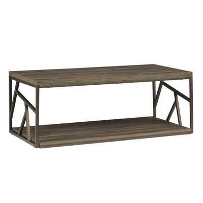 Lincoln Metal Open Shelf Distressed Wood Occasional Table - Overstock