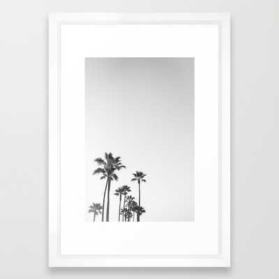 "Black and White California Palms Art Print - 15""x21""- Vector White Frame - Society6"
