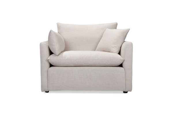 Cameron Armchair in White Linen - capsulehome.com
