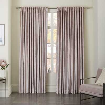 "Luster Velvet Curtain - Dusty Blush -124""l x 48""w.- Unlined - West Elm"