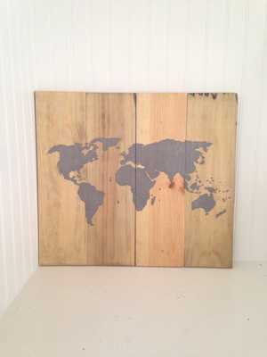 "World Map Sign -Length 16"", Height 14""- Unframed - Etsy"