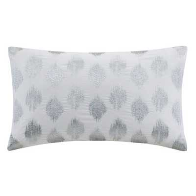 "Nadia Dot Embroidered Cotton Lumbar Pillow, Silver - 12"" H x 18"" W x 5"" D - Polyfill insert - AllModern"