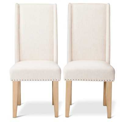 Charlie Modern Wingback Dining Chair with Nailheads - Cream (Set of 2) - Target