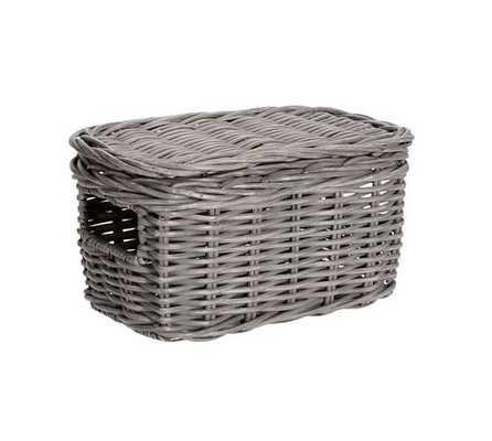 Wicker Weave Lidded Basket, Small - Pottery Barn