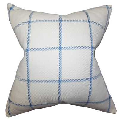Wilmie Plaid Blue Feather Filled 18-inch Throw Pillow - Down, Feather insert - Overstock