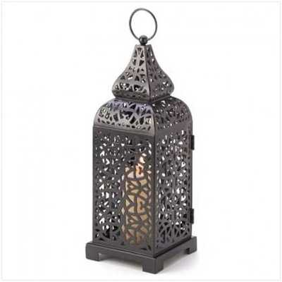 Moroccan Tower Candle Lantern - Houzz