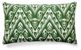 Chevron 14x24 Cotton Pillow, Green - One Kings Lane