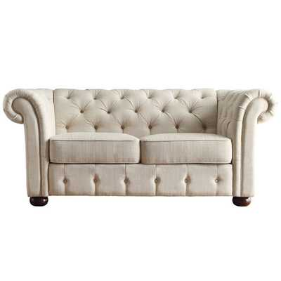 Linen Tufted Scroll Arm Chesterfield Loveseat - Overstock