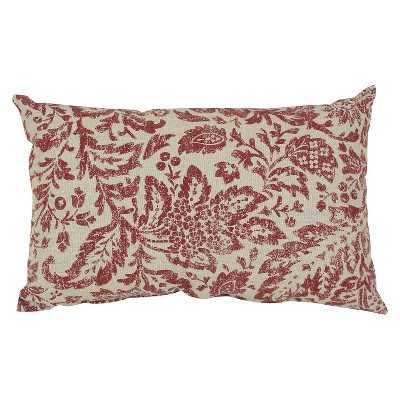 """Floral Damask Pillow - Red/Tan-11'5""""x18'5""""-Red-Insert - Target"""