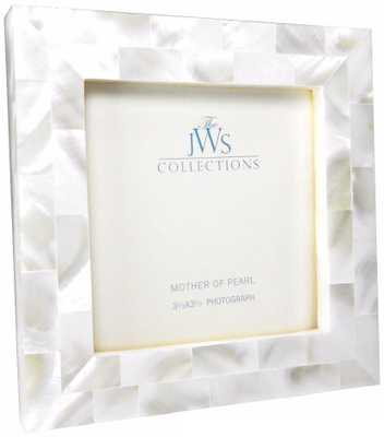 White Mother of Pearl 3.5x3.5 Photo Frame - Lamps Plus