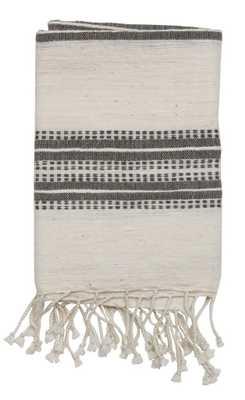NATURAL W/GREY STRIPES HAND TOWEL - shoppe.amberinteriordesign.com