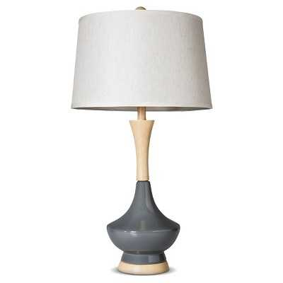 Ceramic Table Lamp With Wood-Style Base - Slate - Target
