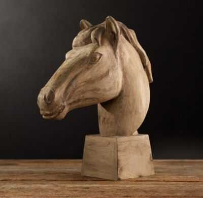 19TH C. REALIST CARVED HORSE HEAD - RH