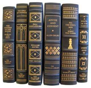 Leather Gilt Decorative Books, S/6 - One Kings Lane