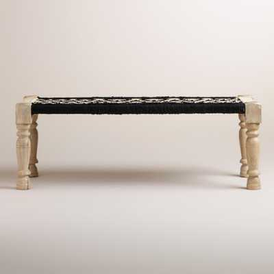 Black and White Wood and Fabric Bench - World Market/Cost Plus