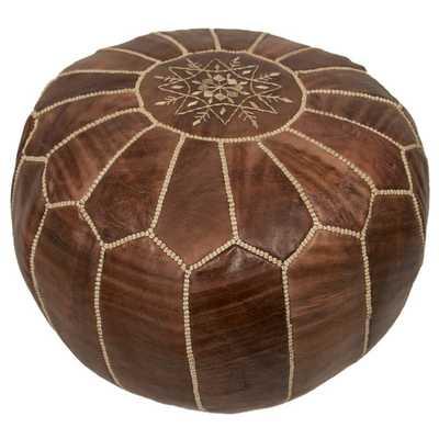 Moroccan Embroidered Pouf Ottoman-Chestnut - AllModern