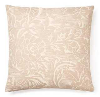 Blossom 16x16 Linen Pillow, Cream, insert, down/feather - One Kings Lane