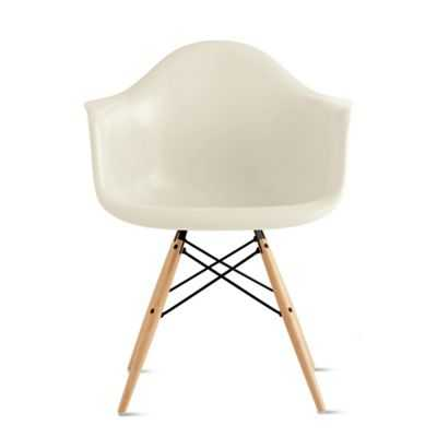 Eames® Molded Fiberglass Dowel-Leg Armchair (DFAW) - Parchment with Black/Maple legs - Design Within Reach