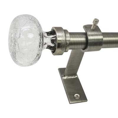 """North Branch Crackle Knob Single Curtain Rod and Hardware Set - Pewter - 18"""" - 36"""" W - Wayfair"""
