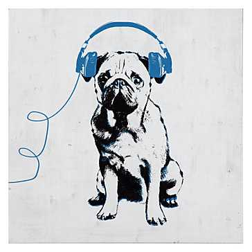 Music Love Pug - 12''W x 12''H - Unframed - Z Gallerie