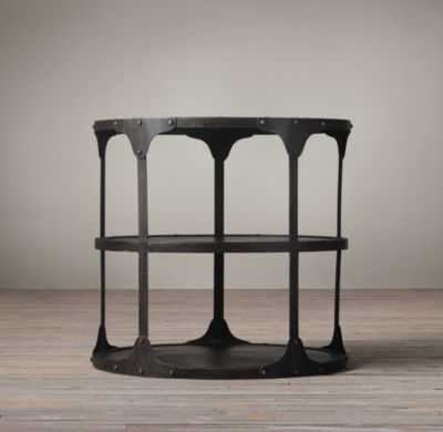 20TH C. INDUSTRIAL RIVETED SIDE TABLE - RH