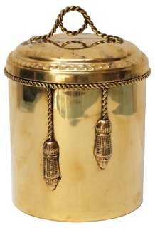Brass Canister w/ Rope & Tassels - One Kings Lane