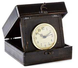 "6"" Leather-Style Box Clock, Brown - One Kings Lane"