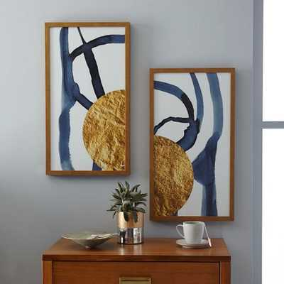 """The Arts Capsule Ink Diptych - Prints 1 + 2-   28""""w x 50""""h- Gold metallic frame - West Elm"""