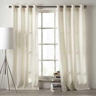 """Linen Cotton Grommet Curtain - White - 84""""L x 48"""" W - West Elm"""