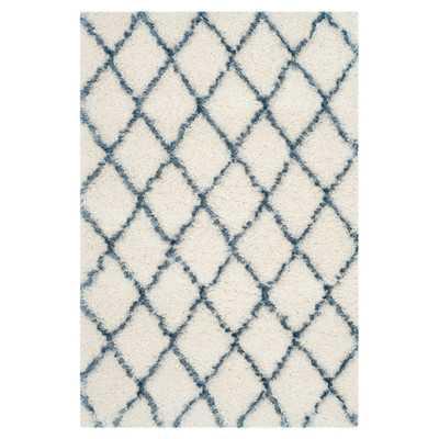 "Moroccan Shag Ivory & Blue Geometric Rug - 8'6""x12' - Wayfair"
