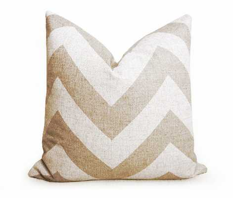 """Grande Chevron 20"""" x 20"""" Pillow Cover - Natural and White - Without insert - Willa Skye"""