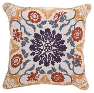 Centre 20x20 Embroidered Pillow, Multi- Feather/down insert - One Kings Lane