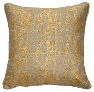 Ruins 22x22 Linen Pillow, Gold - One Kings Lane