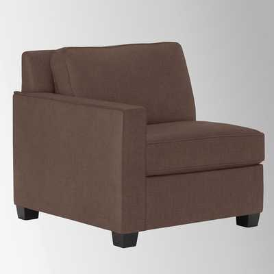 Henry Left Arm Chair - Linen Weave, Timber - West Elm