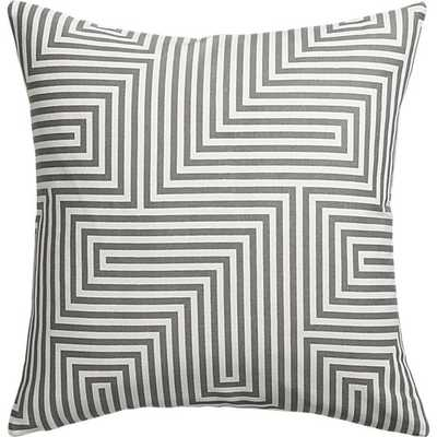"Vibe pillow, Grey and white, 18""Sq, Down-alternative insert - CB2"