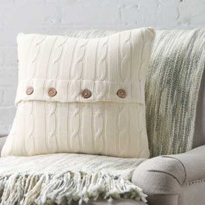 """Clara Cable-Knit Pillow Cover - Parchment - 18""""x18"""" - Insert sold separately - Wayfair"""