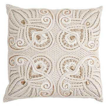 "Navan Silver/gold 18"" Pillow  - Feather/Down Insert - Z Gallerie"