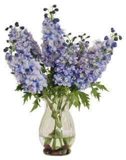 "15"" Delphinium in Vase, Faux - One Kings Lane"
