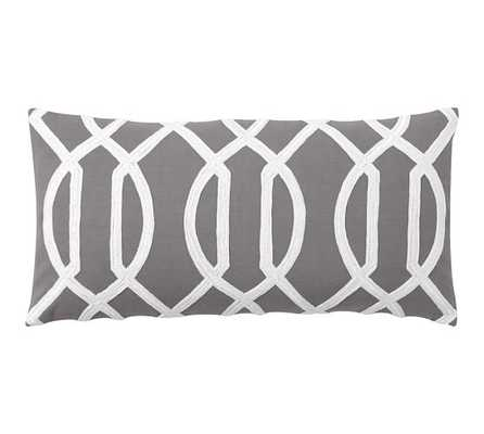 """Trellis Embroidered Pillow Cover- 12"""" wide x 24"""" long- Grey- insert sold separately. - Pottery Barn"""