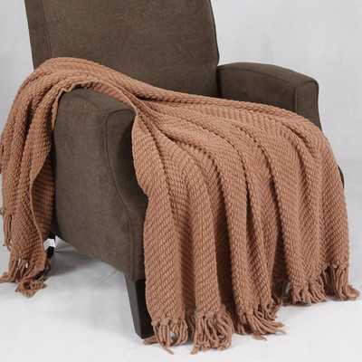 Tweed Knitted Throw Blanket-Amphora - Wayfair