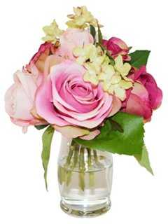 """8"""" Roses & Hydrangea in Vase, Faux - One Kings Lane"""